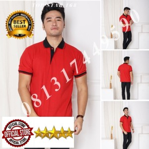 Harga kaos polo shirt polos merah kerah hitam kaos kerah pria baju kerah   tulis no warna   HARGALOKA.COM