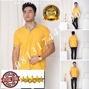 Harga kaos polo shirt kuning kenari kerah abu kaos kerah pria baju kerah   tulis no warna   HARGALOKA.COM