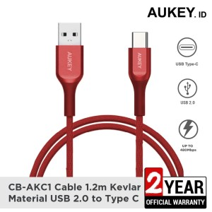 Harga aukey cable cb akc1 usb a to usb c qc 2 0 kevlar 1 2m red   | HARGALOKA.COM