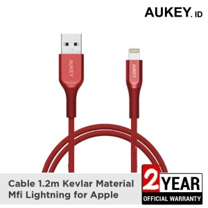 Harga aukey cable mfi usb a to lightning kevlar cable 1 2 m red   | HARGALOKA.COM