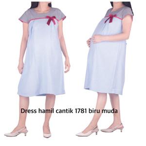 Harga baju hamil dress hamil menyusui cantik oh 1781 bajuhamil   biru | HARGALOKA.COM