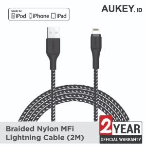 Harga aukey cable 2m lightningbraided mfi apple black   | HARGALOKA.COM