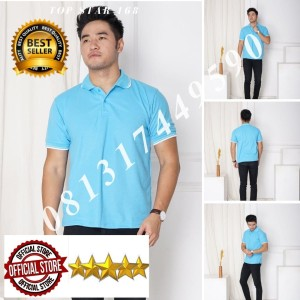 Harga kaos polo shirt biru langit list putih kaos kerah pria baju kerah polo   tulis no warna   HARGALOKA.COM