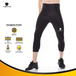 Harga tiento baselayer celana ketat legging olahraga 3 4 pants black silver   | HARGALOKA.COM