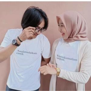 Harga kaos baju couple distro assalamualaikum cantik waalaikumsalam tampan   putih | HARGALOKA.COM
