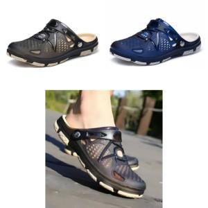 Harga sandal sepatu kasual pria flip flop santai elegan bahan karet | HARGALOKA.COM