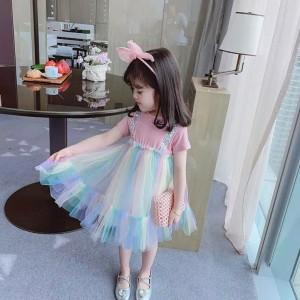 Harga dress korea warna rainbow pelangi anak perempuan import   100 pink | HARGALOKA.COM