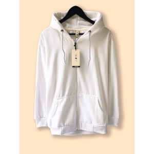 Harga jaket hoodie zipper resleting premium camoe original white putih basic   | HARGALOKA.COM