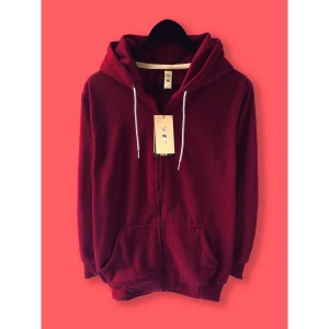 Harga jaket hoodie zipper resleting camoe original merah marun maroon basic   | HARGALOKA.COM