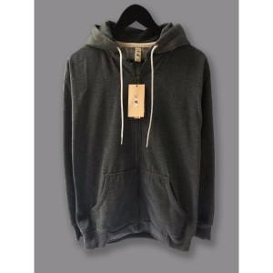 Harga jaket hoodie zipper resleting camoe original abu tua dark grey basic   | HARGALOKA.COM