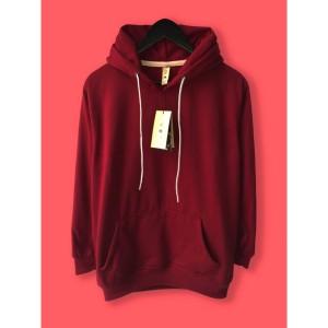 Harga jaket hoodie premium camoe original merah marun maroon basic   | HARGALOKA.COM