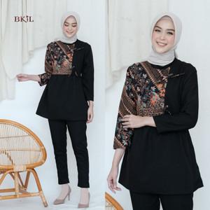 Harga video review blouse batik modern baju atasan kerja wanita   hitam | HARGALOKA.COM