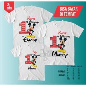 Harga kaos custom paket couple family mickey mouse   custom nama   2 dewasa 1   HARGALOKA.COM