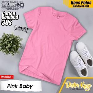 Harga baju kaos tshirt polos pria wanita unsex warna merah muda pink baby   | HARGALOKA.COM