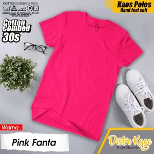 Harga baju kaos tshirt polos pria wanita unsex warna merah muda pink fanta   | HARGALOKA.COM