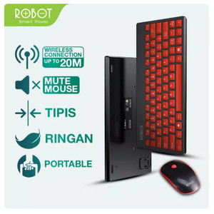 Harga robot km3000 portable mini wireless keyboard and mouse combo red | HARGALOKA.COM