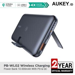 Harga aukey powerbank pb wl02 wireless charging 10000mah with pd amp qc  | HARGALOKA.COM
