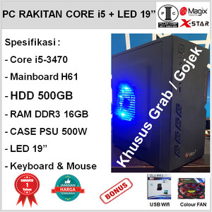 Harga komputer core i5 3470 led 19 34 hd 500gb h61 ddr3 16gb psu 500w cs58 | HARGALOKA.COM