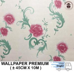 Harga wallpaper dinding stiker batik cendrawasih hijau 45cmx10m   bunga rambat | HARGALOKA.COM