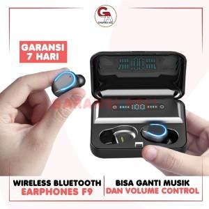 Harga cod headset earphone bluetooth tipe f9 suara jernih indikator batrai   | HARGALOKA.COM