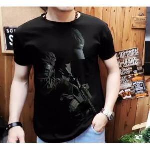 Harga grosir kaos pria fashion pria harga mumer kualitas oke   hitam | HARGALOKA.COM