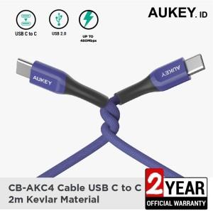 Harga aukey cable cb akc4 usb c to c 2m kevlar material blue   | HARGALOKA.COM