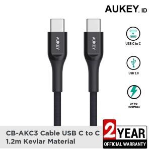 Harga aukey cable cb akc3 usb c to c 1 2m kevlar black   | HARGALOKA.COM
