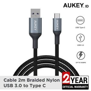 Harga aukey cable cb cd40 2m braided nylon usb 3 0 to type c grey   | HARGALOKA.COM