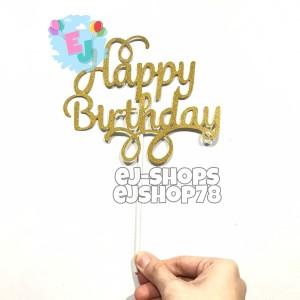 Harga cake topper happy birthday kertas glitter topper kue ulang | HARGALOKA.COM