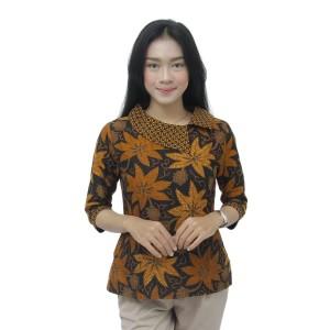 Harga batik wanita atasan blouse modern model kerah besar batik kerja wanita   | HARGALOKA.COM