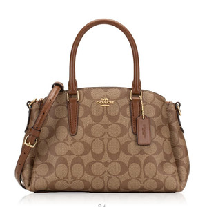Harga coach signature mini sage carryall khaki saddle brown   original 100 | HARGALOKA.COM