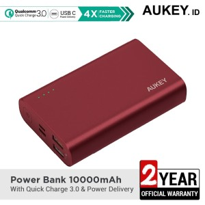 Harga aukey powerbank pb xd12 10000 mah qc3 0 amp power delivery red   | HARGALOKA.COM