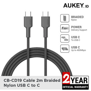 Harga aukey cable cb cd19 braided c to c 2m black   | HARGALOKA.COM