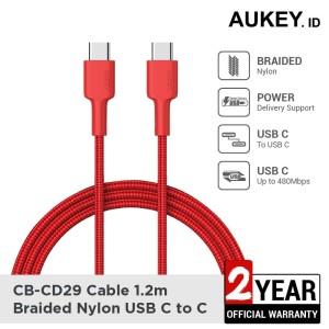 Harga aukey cable cb cd29 usb c to c1 2m red   | HARGALOKA.COM