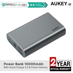 Harga aukey powerbank pb xd12 10000 mah qc3 0 amp power delivery grey   | HARGALOKA.COM