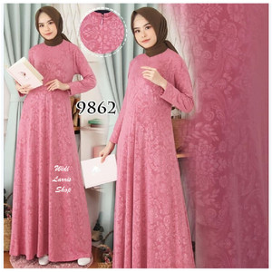 Harga baju gamis wanita terbaru gamis jersey emboss gamis jumbo polos   9862   | HARGALOKA.COM