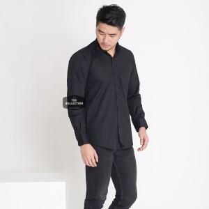 Harga baju kemeja hitam polos pria lengan panjang big size xxl casual formal   hitam | HARGALOKA.COM
