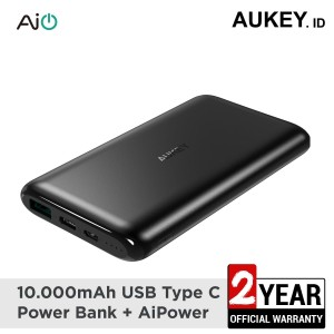 Harga aukey powerbank 10000 mah usb c aiq   | HARGALOKA.COM