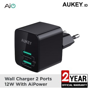 Harga aukey charger 2 port 12w with aiq   | HARGALOKA.COM