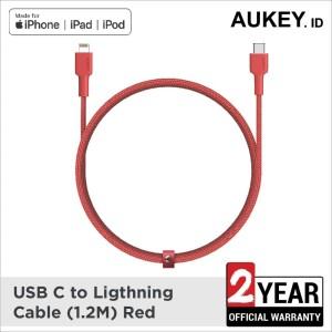 Harga aukey braided nylon mfi usb c to lightning cable 1 2m   | HARGALOKA.COM