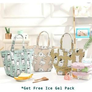 Harga korean cath cooler canvas lunch bag tas bekal dengan alumunium foil   white | HARGALOKA.COM