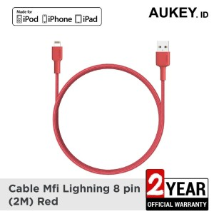 Harga aukey cable mfi usb a to lightning 2m red   | HARGALOKA.COM