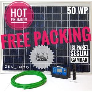 Harga paket hemat solar panel surya 50wp poly scc 10a mc4 amp kabel 2 | HARGALOKA.COM