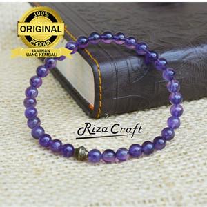 Harga gelang tasbih batu akik kecubung ungu kalimantan asli natural 33   HARGALOKA.COM