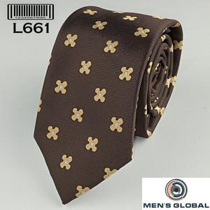 Harga lebar 6 cm fashion dasi import motif coklat bunga gold w box | HARGALOKA.COM