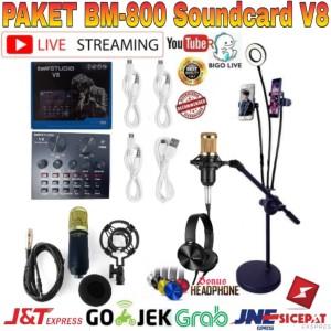 Harga paket mic bm800 soundcard v8 stand lazypod phone holder ring   HARGALOKA.COM
