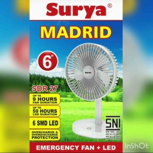 Harga kipas angin portable lampu emergency 6 inch charge surya | HARGALOKA.COM