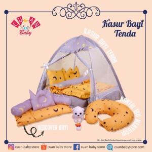 Harga paket tempat tidur bayi tenda motif starry yellow x starry grey   HARGALOKA.COM