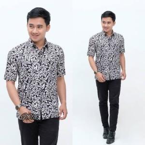 Harga baju batik kemeja batik pria kombinasi m l xl   putih | HARGALOKA.COM