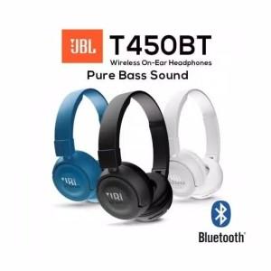 Harga headset handsfree jbl t450bt wireless on ear headphones purebass sound   | HARGALOKA.COM